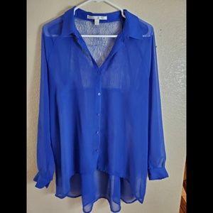 Lauren Conrad XL Blue Sheer Lace Button Blouse